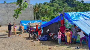 Evacuation camp in Mamuju. Each tent houses several families (February 5, 2021)